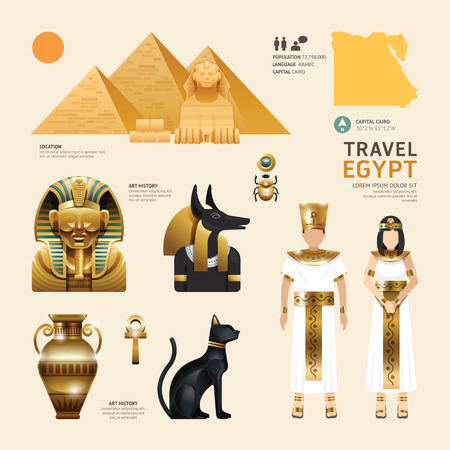 ancient egyptian culture: Egypt Flat Icons Design Travel Concept.Vector Illustration
