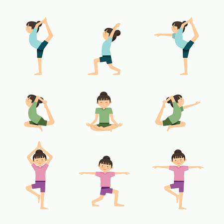 yoga class: Vector yoga set illustration. girl yoga exercises. in lesson class, Healthy lifestyle concept.