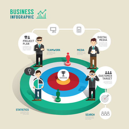 work team: Business target board game concept infographic step to successful,vector illustration