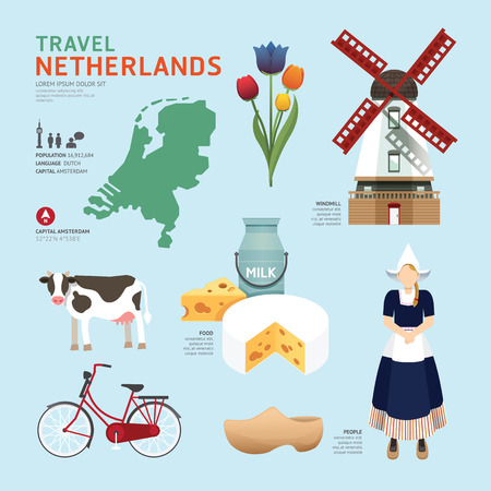 cow cartoon: Netherland Flat Icons Design Travel Concept.Vector Illustration