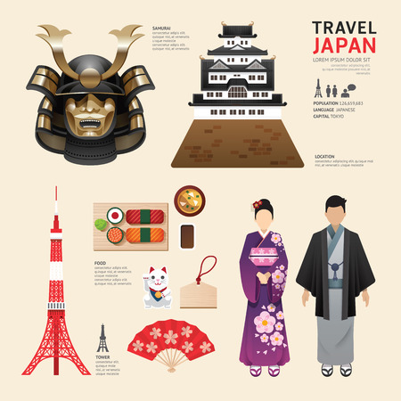 Japan Flat Icons Design Travel Concept.Vector Stok Fotoğraf - 37665093