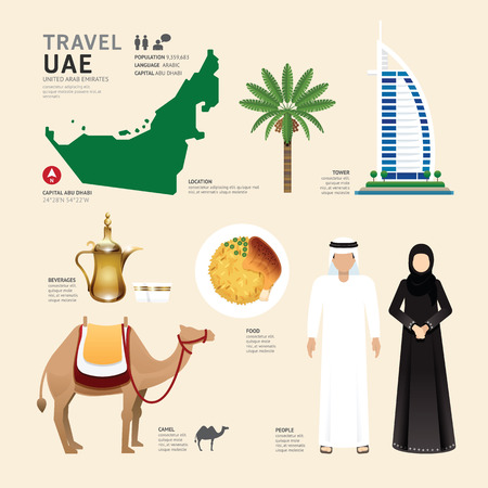 arabic: UAE United Arab Emirates Flat Icons Design Travel Concept.Vector