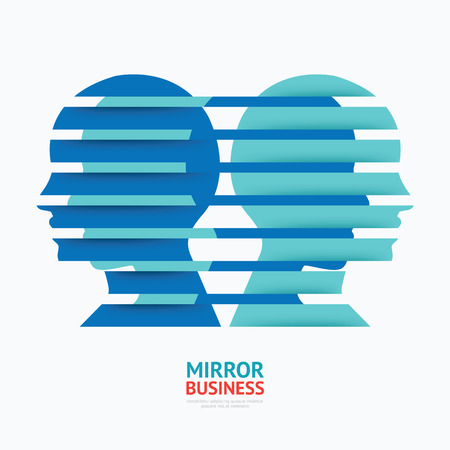 looped shape: business design mirror concept vector illustration  graphic or web design layout.