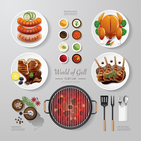 meat on grill: Infographic food grill,bbq,roast,steak flat lay idea. Vector illustration hipster concept.can be used for layout, advertising and web design.