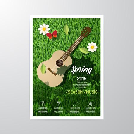 パンフレット、チラシ、雑誌の表紙ブックレット ポスター デザイン template.layout 春音楽季節祭 a4 をベクトルします。