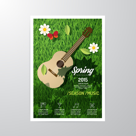 Vector Broschüre, Flyer, Magazin-Cover Booklet Plakatgestaltung template.layout Frühling Musikfestival Saison A4-Format. Illustration