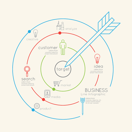 Flat linear Infographic Business Target outline concept.Vector Illustration. Vector