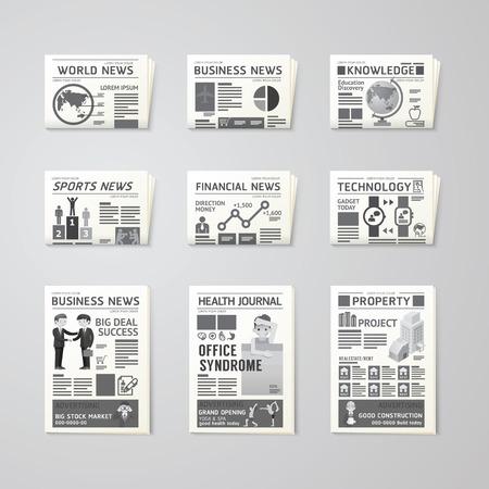Periódico diario plana conjunto de vectores diseño template.business, la salud, la educación, la tecnología y el diseño de deporte. Ilustración de vector