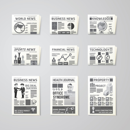 Newspaper daily flat vector set design template.business,health,education,technology and sport design. Vettoriali