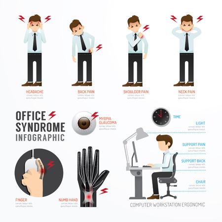 dolor de espalda: Diseño Plantilla síndrome oficina Infografía. Concepto de ilustración vectorial