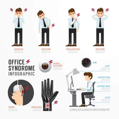 epaule douleur: Le syndrome de bureau Infographie Template Design. Concept Vector illustration Illustration