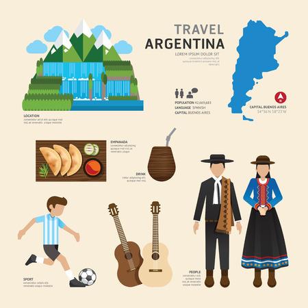 Travel Concept Argentinië Landmark Flat Icons Ontwerp .Vector Illustratie
