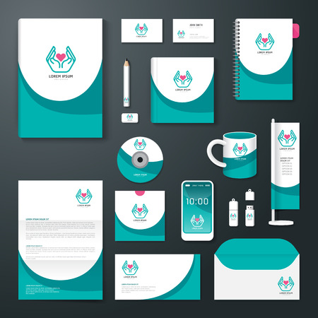 reports: Vector brochure, flyer, magazine cover booklet poster design template layout business stationery annual report A4 size set of health corporate identity template. Illustration
