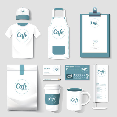 dining set: Vector restaurant cafe set flyer, menu, package, t-shirt, cap, uniform design layout set of corporate identity template.
