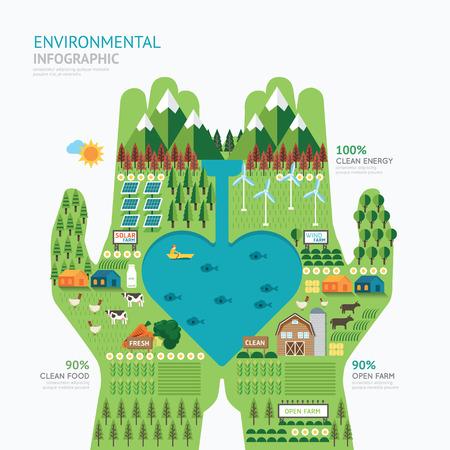 Infografía cuidado de la naturaleza mano plantilla de forma de la naturaleza diseño.Save concepto de ilustración vectorial  diseño diseño gráfico o web.