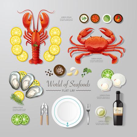 food: 인포 그래픽 식품 사업 해산물 평평하게 누워 생각. 벡터 일러스트 레이 션 힙 스터 레이아웃, 광고 및 웹 디자인에 사용할 수 concept.can. 일러스트