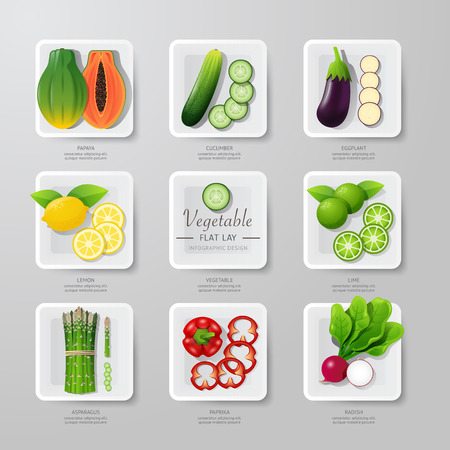 salad dressing: Infographic food vegetables flat lay idea. Vector illustration hipster concept.can be used for layout, advertising and web design. Illustration