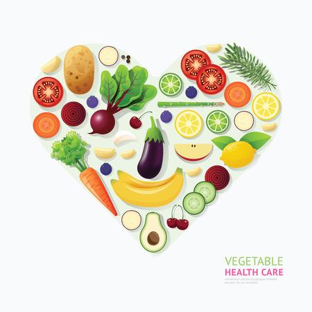 salute: Verdura e frutta Infografica cibo sanità template design a forma di cuore. concetto sano illustrazione vettoriale  layout di progettazione grafica o web. Vettoriali