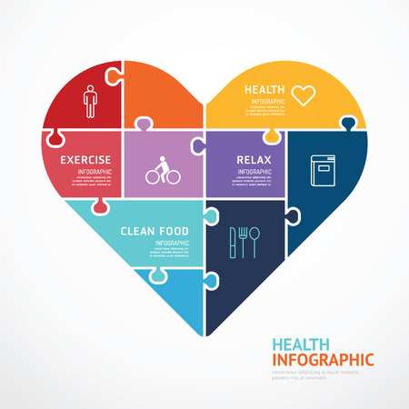 internet education: infographic Template with heart shape jigsaw banner . concept vector illustration
