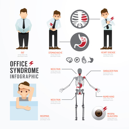 Infographic kantoor syndroom Template Design. Concept Vector illustratie