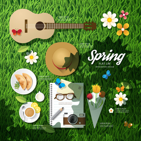 Infographic travel planning a spring vacation business flat lay idea. Vector illustration hipster concept.can be used for layout, advertising and web design. Illustration