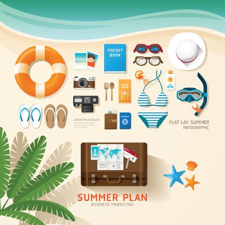 de zomer: Infographic reis plannen van een zomervakantie bedrijf plat idee. Vector illustratie hipster concept.can worden gebruikt voor layout, reclame en web design.