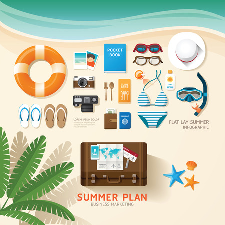 suntan: Infographic travel planning a summer vacation business flat lay idea. Vector illustration hipster concept.can be used for layout, advertising and web design.