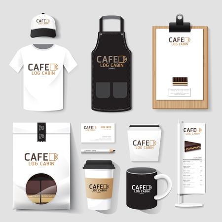 identidad: Vector restaurante café puestas folleto, carta, paquete, camiseta, gorra, uniforme Escenografía  diseño de la plantilla de identidad corporativa.