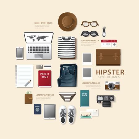 Infografik-Mode-Design-Flachlege Idee. Vector illustration hipster concept.can für Layout, Werbung und Web-Design verwendet werden.