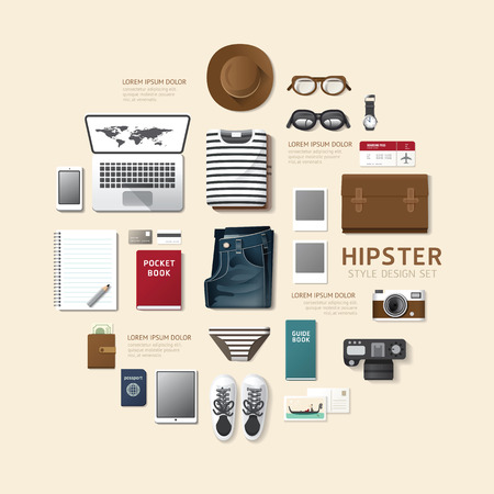 illustration journey: Infographic fashion design flat lay idea. Vector illustration hipster concept.can be used for layout, advertising and web design.