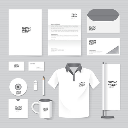 mockup: Vector brochure, flyer, magazine, folder, t-shirt,cover booklet poster mockup design template layout business stationery annual report A4 size set of corporate identity template. Illustration