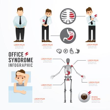 インフォ グラフィック オフィス症候群テンプレート デザイン。概念ベクトル図