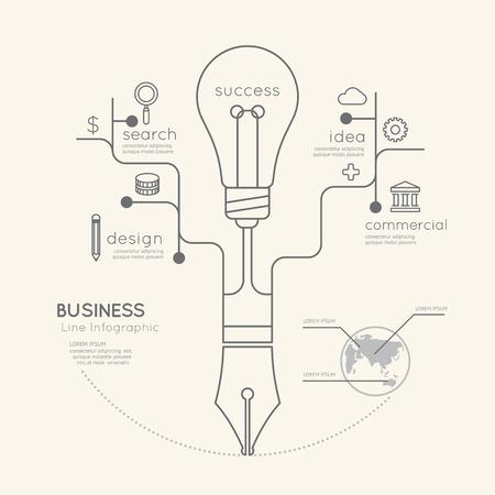 フラット線形インフォ グラフィック ビジネス教育ペン ツリー電球概要コンセプト。ベクトルの図。