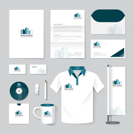 mockup: Vector brochure, flyer, magazine, folder, t-shirt,cover booklet poster mockup design template layout business stationery building, real estate logo  A4 size set of corporate identity template. Illustration