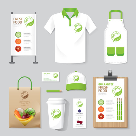 Vector gezondheid, schoonheid winkel set flyer, menu, verpakking, t-shirt, cap, uniform ontwerp  lay-out set van corporate identity mock up template. Stock Illustratie