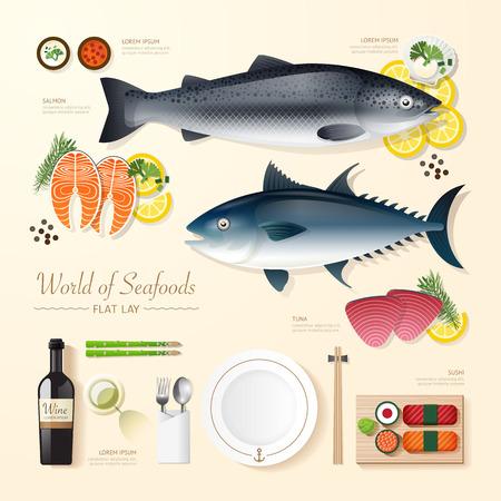 양분: 인포 그래픽 식품 사업 해산물 평평하게 누워 생각. 물고기, 참치, 연어, 초밥 벡터 일러스트 레이 션. 레이아웃, 광고, 웹 디자인을 사용할 수있다. 일러스트