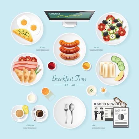 plato de comida: Alimentos Infografía desayuno de negocios idea aplanada. ensalada, comida, pan tostado, noticias ilustración del vector. se puede utilizar para el diseño, la publicidad y el diseño web.