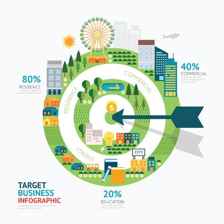 Infografik Business Pfeil und Ziel-Form-Vorlage design.route zum Erfolg-Konzept Vektor-Illustration  Grafik-oder Web-Design-Layout.