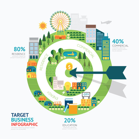 Infographic zakelijke pijl en doel vorm sjabloon design.route succes concept vector illustratie  grafische of web design lay-out. Stock Illustratie