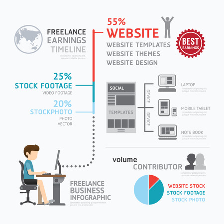 earning: Infographic business freelance earning template design.route to success concept vector illustration  graphic or web design layout. Illustration