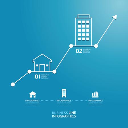 インフォ グラフィック ベクトル プロパティ ビジネス投資図線のスタイル テンプレート  イラスト・ベクター素材