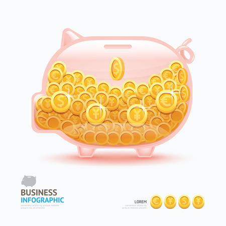 Infographic business currency money coins piggy bank shape template design. saving success concept vector illustration  graphic or web design layout.