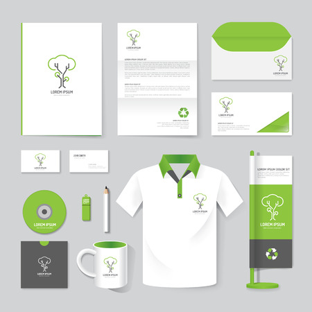 Vector brochure, flyer, magazine, folder, t-shirt,cover booklet poster mockup design template/ layout nature care stationery annual report A4 size/ set of corporate identity template. Stock Illustratie