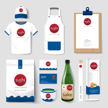 日本料理: ベクトル レストラン カフェ セット フライヤー、メニューのパッケージ、t シャツ、キャップ、制服デザイン日本食品企業の id テンプレートのレイアウトを設定します。
