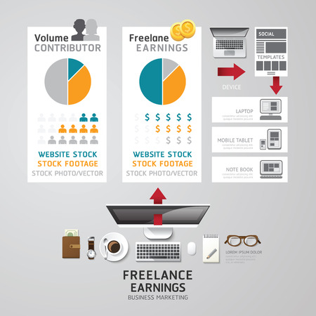 lay: Infographic business freelance flat lay idea. Vector illustration concept. can be used for layout, advertising and web design.