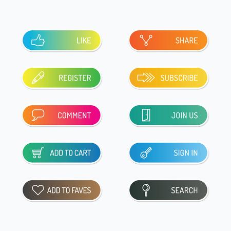 Moderne banner knop met social design icoon opties. Vector illustratie. kan worden gebruikt voor infographic workflow layout, banner, abstract, kleur, grafisch of website lay-out vector