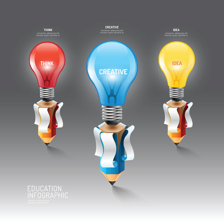 Infographic pencil with light bulb idea. Vector illustration.education nature environment concept.can be used for layout, banner and web design. Vettoriali