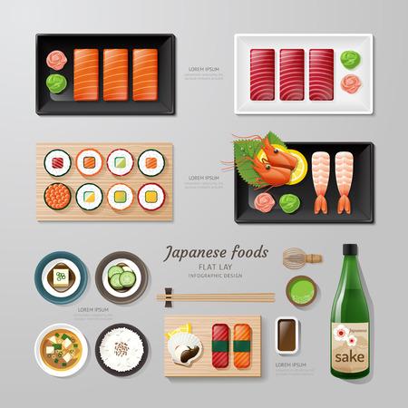 japanese sake: Infografía alimentos japoneses negocio idea aplanada. Ilustración vectorial inconformista concept.can ser utilizado para el diseño, la publicidad y el diseño web. Vectores