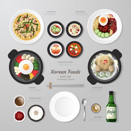food: 인포 그래픽 한국 식품 사업 평면 누워 생각. 벡터 일러스트 레이 션 힙 스터 레이아웃, 광고 및 웹 디자인에 사용할 수 concept.can.
