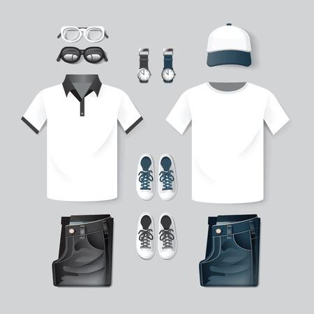 birretes: Ropa de la manera del vector, gorra, camiseta, jean, dos tono inconformista diseño maqueta plantilla  layout.